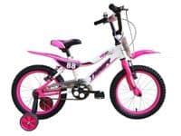 "TIGER 88 MOTO 14"" INCH WHEEL CHILDRENS KIDS BICYCLE BIKE PINK WHITE STABILISERS"